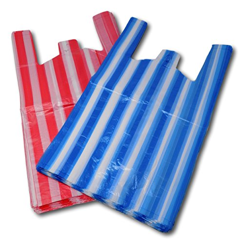 100 Large Candy Stripe Plastic Vest Carrier Bags - FREE SHIPPING from EPOSGEAR