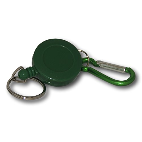EPOSGEAR Retractable Reel Recoil Pull Key Ring Chain Cord Carabiner Belt Clip Ski Pass ID Card Badge Holder (1 Pack, Green - Keyring) from EPOSGEAR