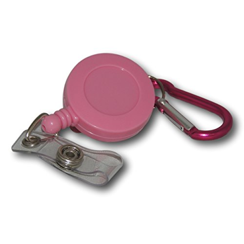 EPOSGEAR Retractable Reel Recoil Pull Key Ring Chain Cord Carabiner Belt Clip Ski Pass ID Card Badge Holder (5 Pack, Pink - ID Clip) from EPOSGEAR