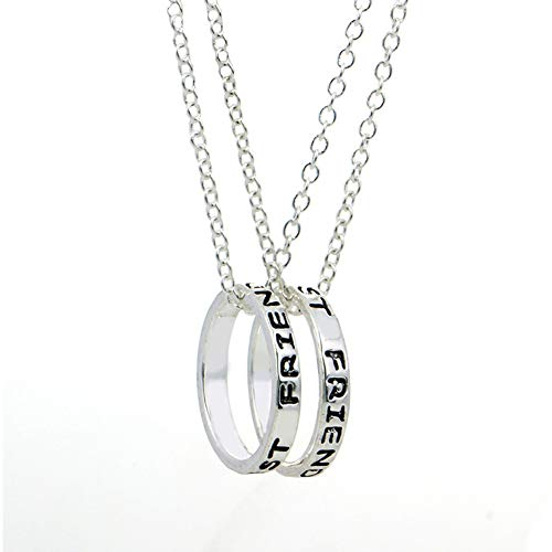 EQLEF® 2 PCS Alloy Silver Simple Ring BEST FRIENDS FOREVER Friendship Necklace -Girlfriend Gift Necklace from EQLEF®