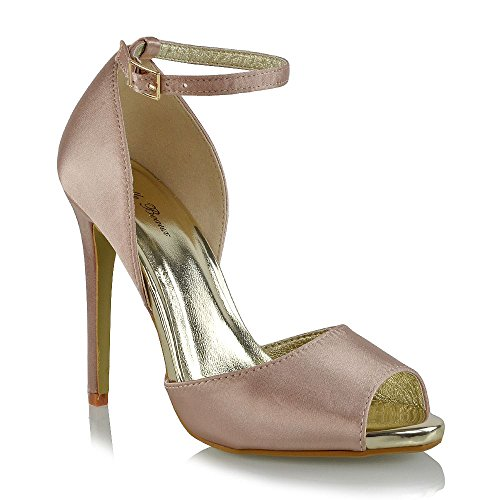 ESSEX GLAM Womens Ankle Strap HIGH Heel Sandals Ladies PEEP Toe Cut Out Satin Party Shoes from ESSEX GLAM