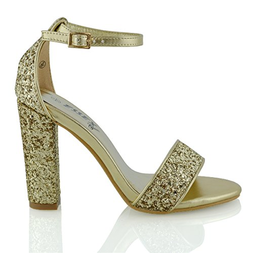 ESSEX GLAM Womens Block Heel Ankle Strap Sandals Ladies Peeptoe Strappy Party Shoes 3-8 (UK 3 / EU 36 / US 5, Gold Glitter) from ESSEX GLAM
