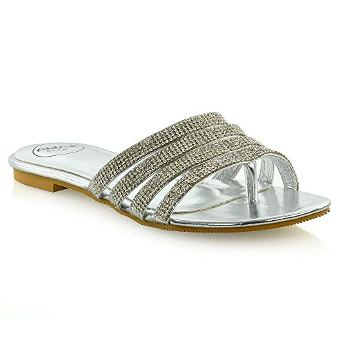 ESSEX GLAM Womens Strappy Slider Shoes Ladies Flip Flop Sparkly Diamante Toe Post Sandals Silver from ESSEX GLAM
