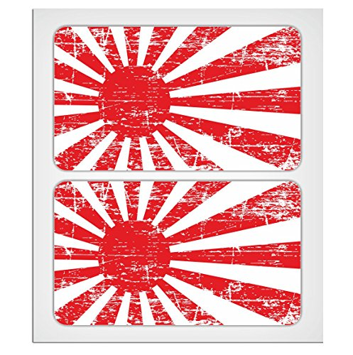 "2 X 70mm - 2.76"" Distressed style Japan rising sun flag Laminated Decal Sticker High Quality by MioVespa collection from EU-Decals - MioVespa Collection"
