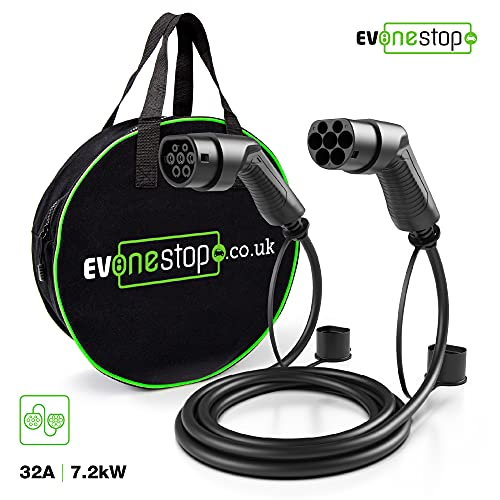 EV/Electric Vehicle Charging Cable | Type 2 to Type 2 | 16/32 Amp | 5/10 Meter | Free carry case | Compatible with BMW, Merc, Leaf 2018, Tesla | (32 Amp / 10 Meter) from EV OneStop Simple, Affordable, Easy EV