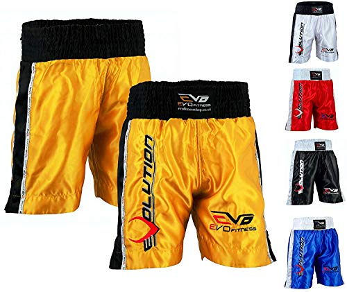EVO Men Boxing Fight Shorts MMA Kick Boxing Martial Arts Gear Muay Thai UFC (X-Large, Golden) from EVO Fitness