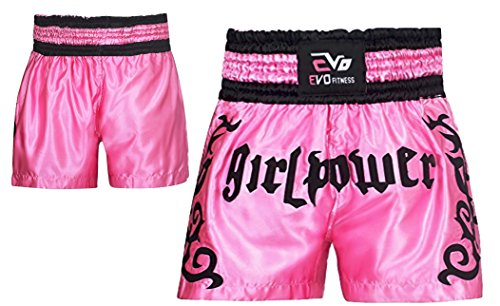 Evo Muay Thai Fight Shorts MMA Kick Boxing Grappling Martial Arts Gear UFC Girl (Pink, XL) from EVO Fitness