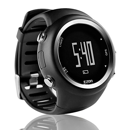 EZON T031A01 GPS Sports Watch for Men and Women Outdoor Leisure Running Digital Wrist Watches with Calorie Counter,Pace Reminder,Alarm and Stopwatch Black from EZON