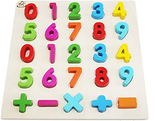 Wooden-Toddler-Puzzles-Toys For 2-3 Year Olds Kids With Big Bright Color-Numbers 0-9; Think Calculate Girl Boy Learning Resources; Educational Name, Shape Puzzle Preschool Learning Toys For Toddlers from EasY FoxY ToY