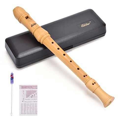 Eastar ERS-31BM Maple Wood Baroque Style Soprano Recorder Set C Key 3 Piece Instrument With Hard Case,Joint Grease,Fingering Chart And Cleaning Kit from Eastar