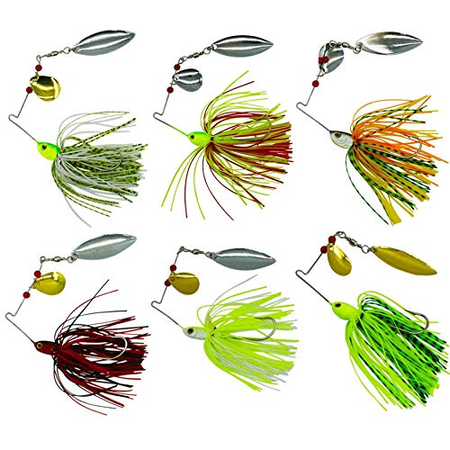 6pcs/lot Fishing Hard Spinner Baits Lures Kit Mixed Color Spoon Spinnerbait Skirt Jig Fishing Lures with Holographic Painted Blades for Saltwater&Freshwater Fishing from Shaddock
