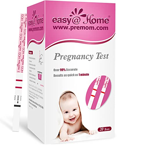 Easy@Home 20 x Pregnancy Test Strips for Early Detection 10 MIU/ml, Fertility Test Kit, 20 HCG Tests from Easy@Home