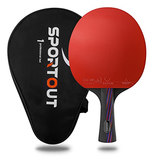 ITTF Approved Table Tennis Bat, Professional Pingpong Racket Paddle with Case, 9-ply Wood and 8-ply Carbon Blade (Logo of Sportout) from Easy-Room