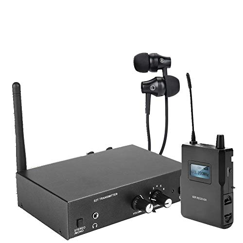 Eboxer Wireless Microphone System, UHF Wireless Microphone Set, Stereo In-ear Monitoring System with 1* Headsets 1* Receiver and 1*Transmitter, 670-680MHZ for Stage Presentation from Eboxer