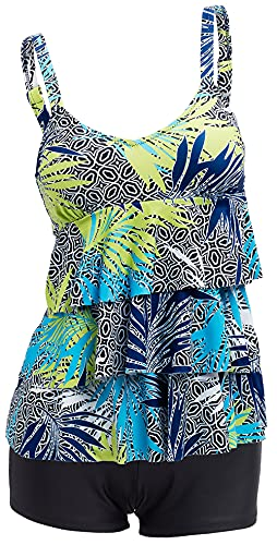 5c836f0943a87 Ecupper Women's Plus Size Tankini Sets Two Piece Floral Printed Swimsuits  Ruffle Swimming Costume with Boyshorts. found at Amazon Marketplace