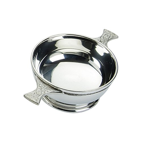 Edwin Blyde /& Co Quaich with Embossed Thistle Inside and Celtic Handles 2 inch Pewter 14 x 8.5 x 5 cm