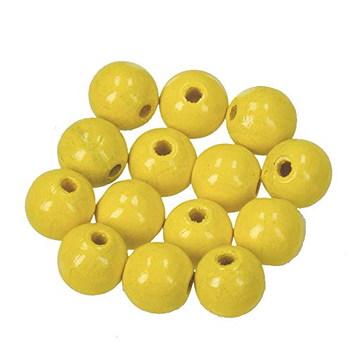 Efco 1400809 10 mm 53-Piece Wooden Beads Hole, Yellow from Efco