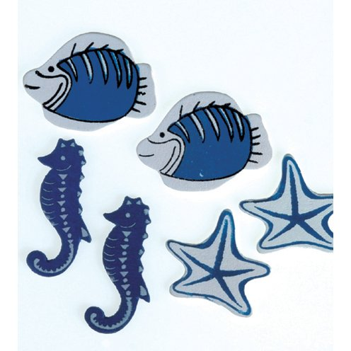 Efco Scatter Sea Life Miniature, Wood, Blue, 25-35 mm, Pack of 12 from Efco