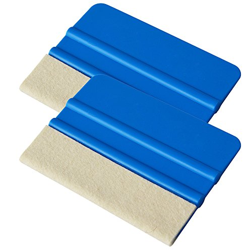 Ehdis® [2PCS Felt Edge Squeegee 4 Inch for Car Vinyl Scraper Film Tint Decal Applicator Tool with wool Felt Edge - Blue Soft PP Scraper from Ehdis