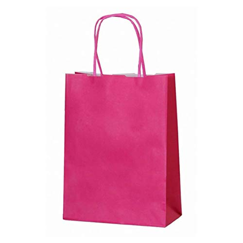 20 Paper Carrier Party Gift Bags Twisted Handles 180 x 80 x 220mm Various Colours Available (Fuchsia) by Ei-Packaging from Ei-Packaging