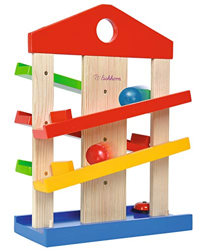 EICHHORN 100002025 Marble Run Game for Kids | Fun Coloured Wooden Toys with 3 Marbles & Fun Bell | for Ages 1+, Multicolour from Eichhorn