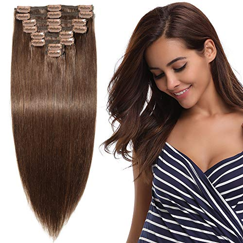 "10""-22"" Human Hair Extensions Clip in - Double Weft - 100% Remy Hair 8 Pcs Full Head (10""-110g, 4 Medium Brown) from Elailite"