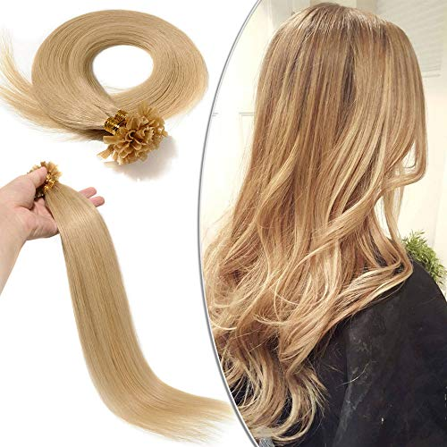 "18""-22"" Pre Bonded U Tip Nail Tip Keratin Remy Human Hair Extensions Straight - 100 Strands (#24 Natural Blonde, 18""-50g) from Elailite"