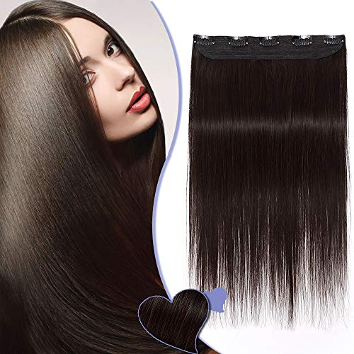 24 inches One Piece Clip in Hair Extension Human Hair 3/4 Head Clip on Real Remy Hair Extensions (#2 Dark Brown, 60g) from Elailite