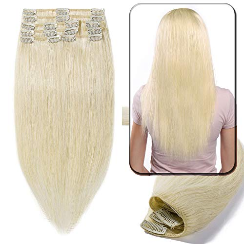 "Clip in Human Hair Extensions Remy - 8 Pcs/18 Clips, Full Head - Standard Weft (22""-110g, 60 Platinum Blonde) from Elailite"
