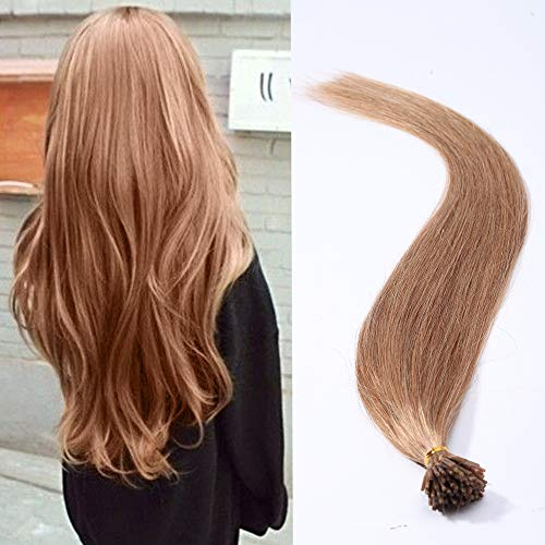 I Tip Hair Extensions 100 Strands Pre Bonded Stick Tip Keratin Real Remy Human Hair Extension Straight - #12 Golden Brown - 20 inches from Elailite