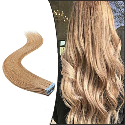 "Tape in Hair Extensions Human Hair Real Remy Hair Skin Weft Straight 20 PCS (#27 Dark Blonde, 14""-40g) from Elailite"