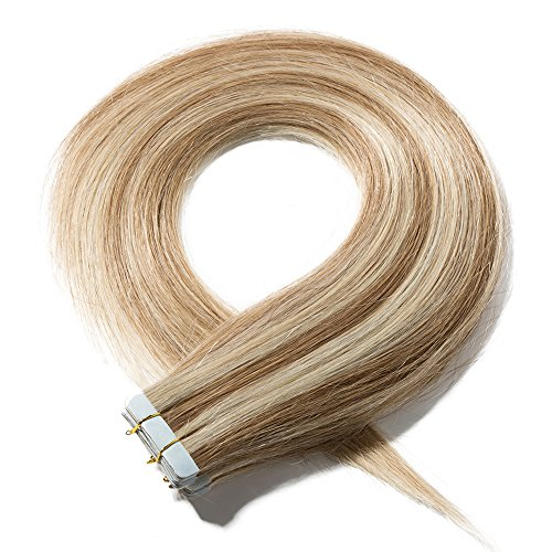 "Tape in Hair Extensions Human Hair - Skin Weft 100% Real Remy Hair Extensions Straight 20 Pcs (16""-50g, 12/613 Golden Brown Mix Bleach Blonde) from Elailite"