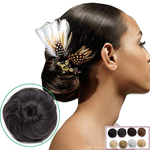 45g synthetic Hair Chignon Extension for Updo Bun Adjustable with Clip Hair Smooth Scrunchie Hairpiece - Dark Brown from Elailite