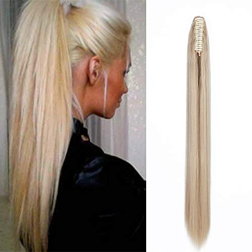 Ponytail Extension Straight Hair with Clip Plier 26inch/65cm Hairpiece Ponytail synthetic Natural Effect Unique Band 150g - Dark Blonde mix Very Light Blonde from Elailite