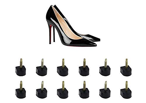 6 Pairs Black U Shaped Heel Tip Taps Heel Cap Replacement Shoe Repair Stiletto Dowel Heel Repair Cover for Women Lady Girls (Thick Pins 3mm, 10mm x 10mm) from Elandy