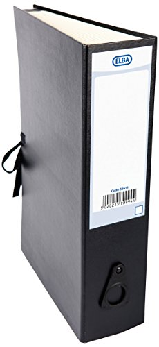 Elba Foolscap Expanding Fan File with Spine Label and Laces, Black from Elba