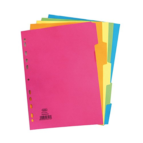 Elba A4 5 Part Bright Dividers - Multi-Colour (Pack of 50), 400008249 from Elba