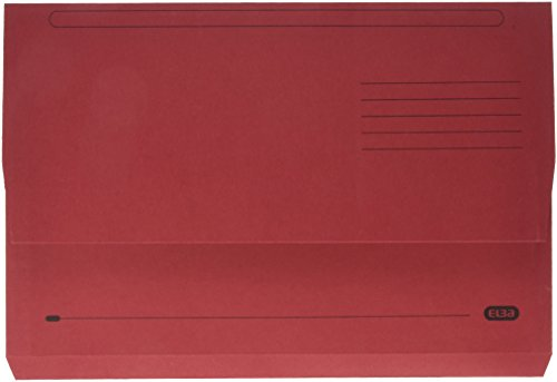 Elba Foolscap 32 mm Capacity Strongline Half-Depth Flap Document Wallet, 320 gsm Manilla, Bordeaux, Pack of 25 from Elba