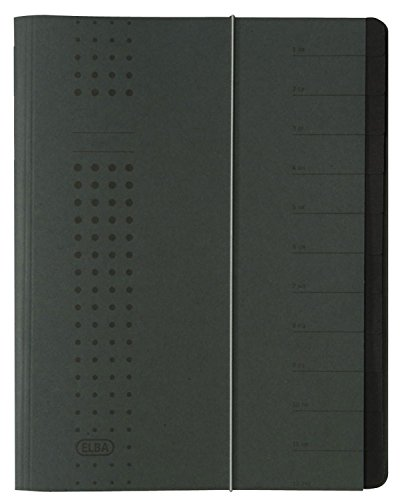 Elba Bürosysteme Chic 42496AZ Folder Recycled Card 450 g/m2 A4 12 Compartments Anthracite from Elba