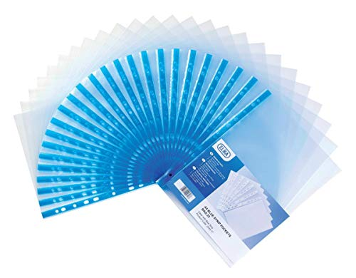Elba Glass Clear Multipunched Pocket Blue Strip 75 Micron A4 Pk100 202308 [Pack 100] from Elba