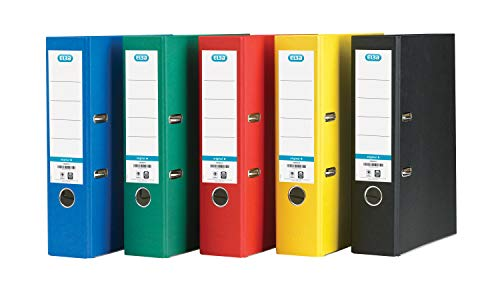 Elba A4 Lever Arch File, Coloured Paper On Board, 80 mm Spine, Assorted, Pack of 10 from Elba