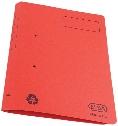 Elba Spirosort Transfer Spring File Recycled 315gsm 35mm Foolscap Red Ref 100090288 [Pack 25] from Elba