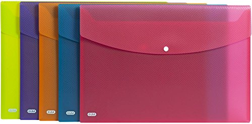Elba Wallets, Urban A4, Rounded Corners, snap Closure, Pack of 5, Plastic, Translucent, Assorted a3 Assorted Colours from Elba