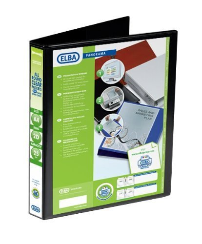 Emgee Presentation Ring Binder PVC 2 D-Ring 25mm Capacity A4 Black Ref 560303 [Pack of 6] from Elba