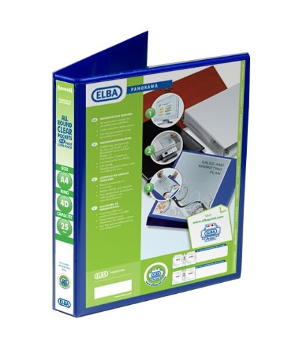 Emgee Presentation Ring Binder PVC 4 D-Ring 25mm Capacity A4 Blue Ref 560312 [Pack of 6] from Elba
