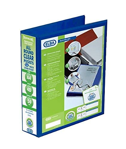 Emgee Presentation Ring Binder PVC 4 D-Ring 50mm Capacity A4 Blue Ref 560332 [Pack of 4] from Elba
