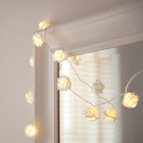 Lights4fun 20 LEDs, rose fairy lights, warm white, battery operated from Lights4fun