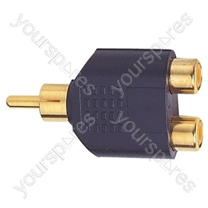 Gold Plated Phono Plug to 2x RCA Phono Sockets Set Parallel Adaptor from Electrovision