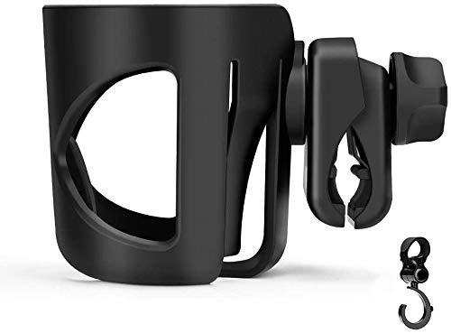 Stroller Cup Holder, Universal Pushchair/Pram Cup Holder,ABS Adjustable Bottle Organizer for Stroller, Drink and Coffee Cup Holder with 1 Hooks, Suitable for Baby Buggy and Bike (Black) from Eletorot