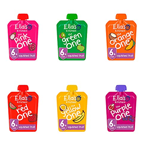 Ella's Kitchen Organic Smoothie Fruits Mixed Case Selection The Yellow, Purple, Pink, Orange, Green, Red One (6 x 90 g) from Ella's Kitchen